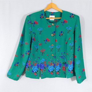 Floral Teal Blazer by Leslie Fay